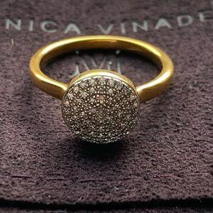 Monica Vinader Pave' Diamond Button Ring (6.5)